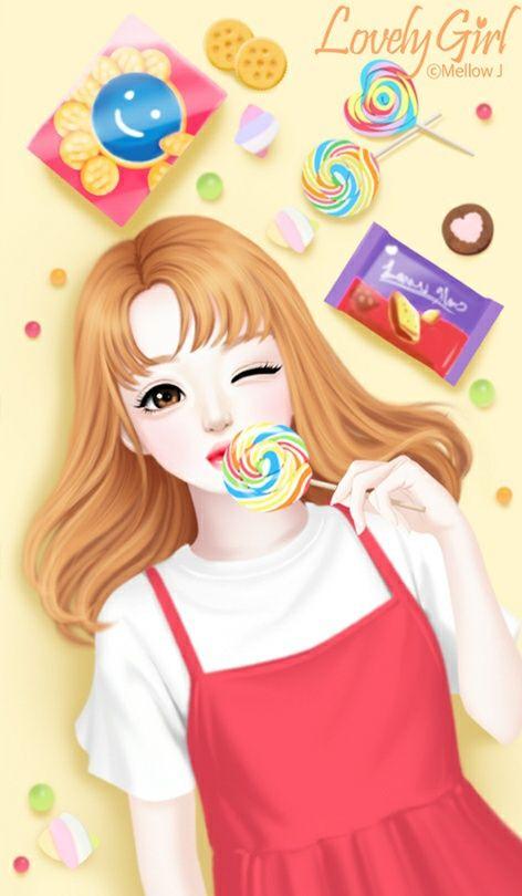 207 best lovely girl images on pinterest dolls anime - Cartoon girl wallpaper ...