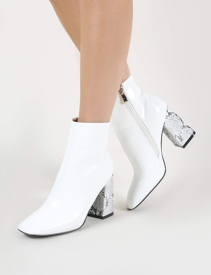 24c04b4b879 Public Desire Vesper Contrast Heeled Ankle Boots in White | Gorgeous ...