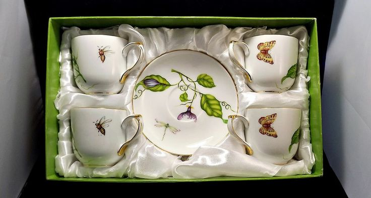 I Godinger Amp Co Jardin China Cup And Saucer Setof 4 4751