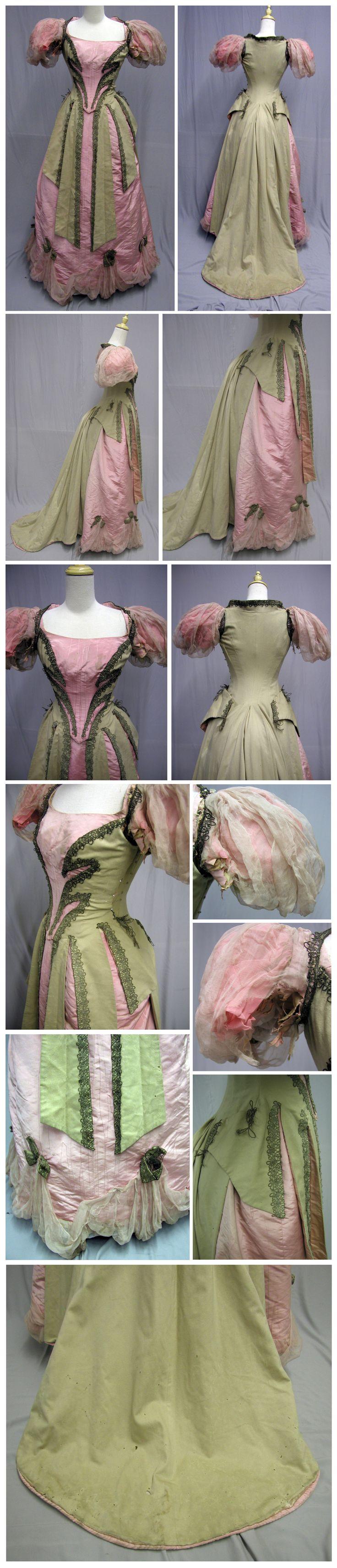 1890's Opulent Era Ballgown - Cashmere & Pink Silk Moiré. Ebay: svpmeow1