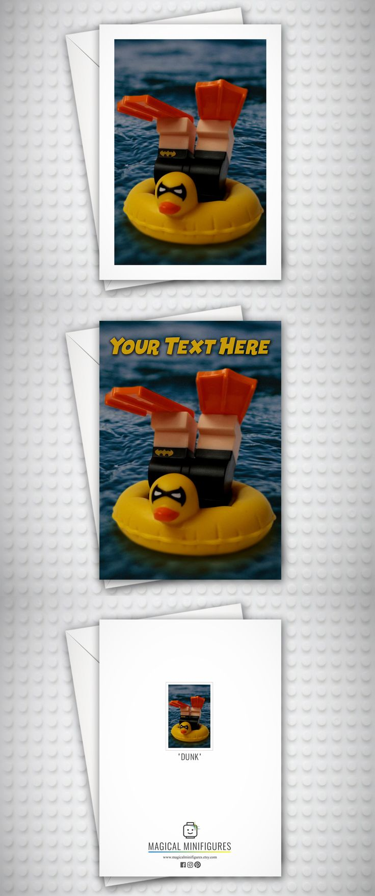 Lego Batman - Lego Minifigure - Vaction Batman - Lego Batman Movie - Funny Birthday Card - Swimming - Personalised Card