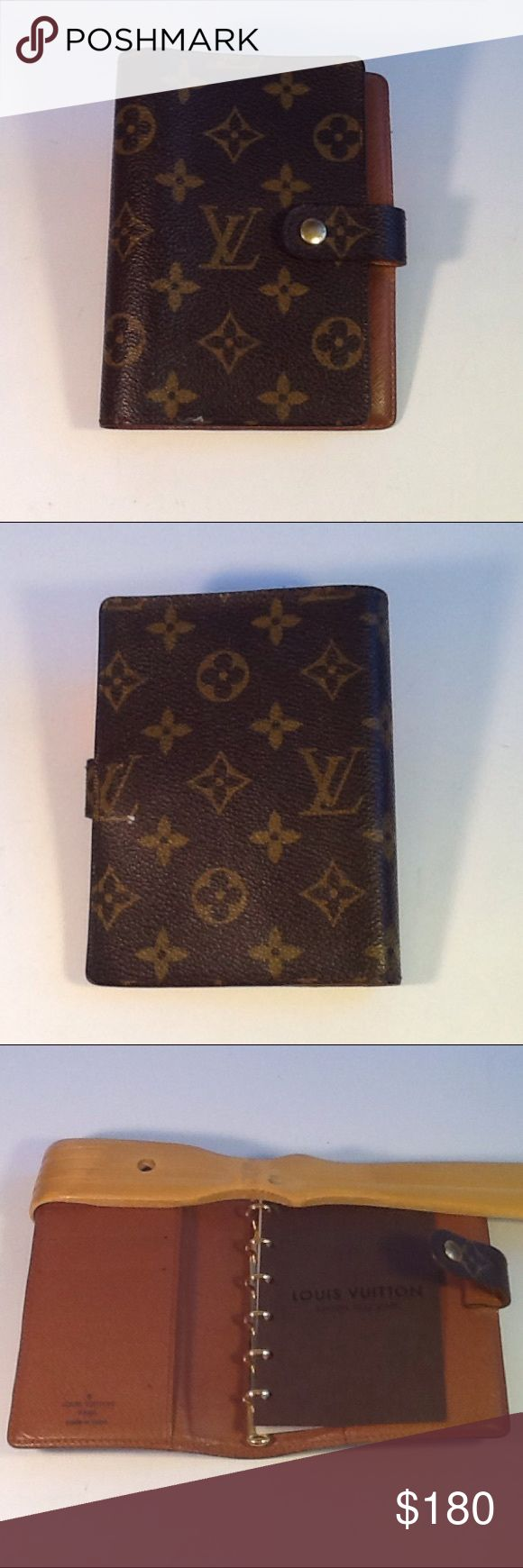 Authentic Louis Vuitton Monogram Agenda Wallet. Leather showed signs of used. The canvas us good. The wallet was made in Spain with a date code CA 0958. Louis Vuitton Accessories