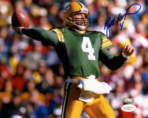 Autographed Brett Favre 8x10 Photo - JSA Certified - Autographed NFL Photos by Sports Memorabilia. $104.99. Autographed Brett Favre 8x10 Photo - JSA. High quality piece with hologram certification and Certificate of Authenticity. A piece like this is great; just look at Favre's stats and you'll see why he's in demand with sports memorabilia collectors around the world. Since Brett Favre doesn't usually do official signings, pieces like this are in high demand. Certi...