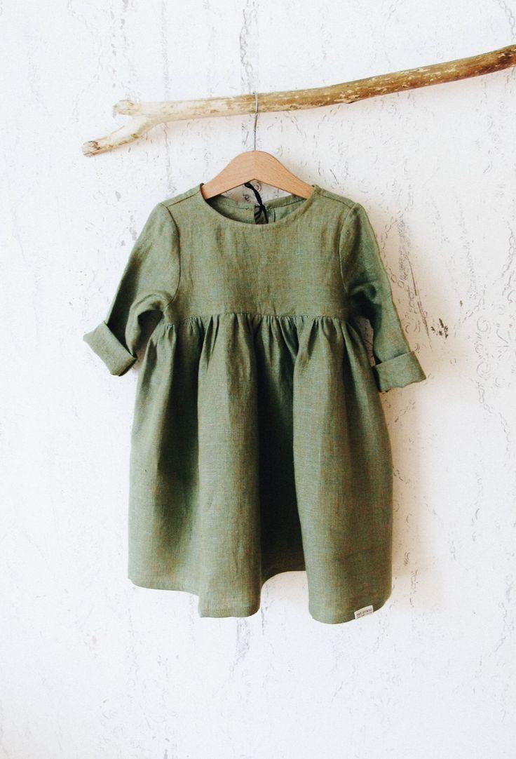 a84108221b4c Lovely Handmade Linen Baby Toddler Dress   Etsy   moda infantil ...