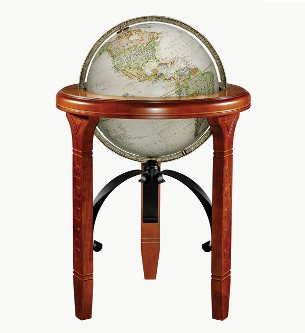 National Geographic Jameson Floor World Globe, With Walnut Finish Wood U0026  Wrought Iron Stand