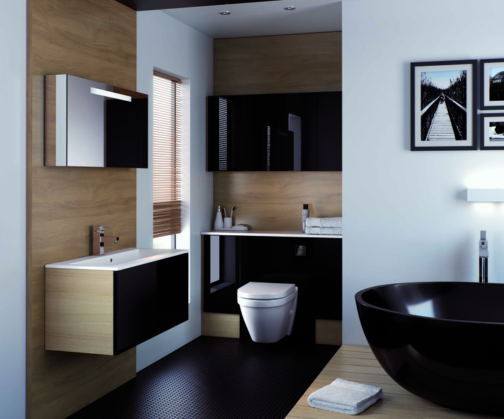 breathtaking black gloss bathroom with a elegant contrasting white lustre solid worktop in the vogue