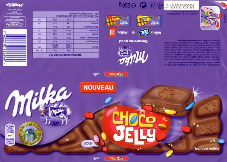 tablette de chocolat lait gourmand milka choco jelly