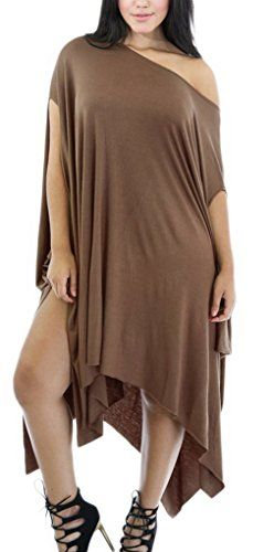 Smile YKK Women Asymmetrical Draped Tunic Dress Party Batwing sleeve Nightclub Brown. Material:95%Polyester + 5%Spandex. Bust Bust 90cm Waist 66cm Hip 90cm Length 90cm. This Asymmetrical Draped Tunic Dress features soft smooth stretchy fabric, round neckline, short sleeves, sag, drape, flare, comfortable, double split, well fitted, and finish with stitching detail closure. From cocktail parties to smart events, this stylish dress speaks for itself; simply add block heel sandals to complete…