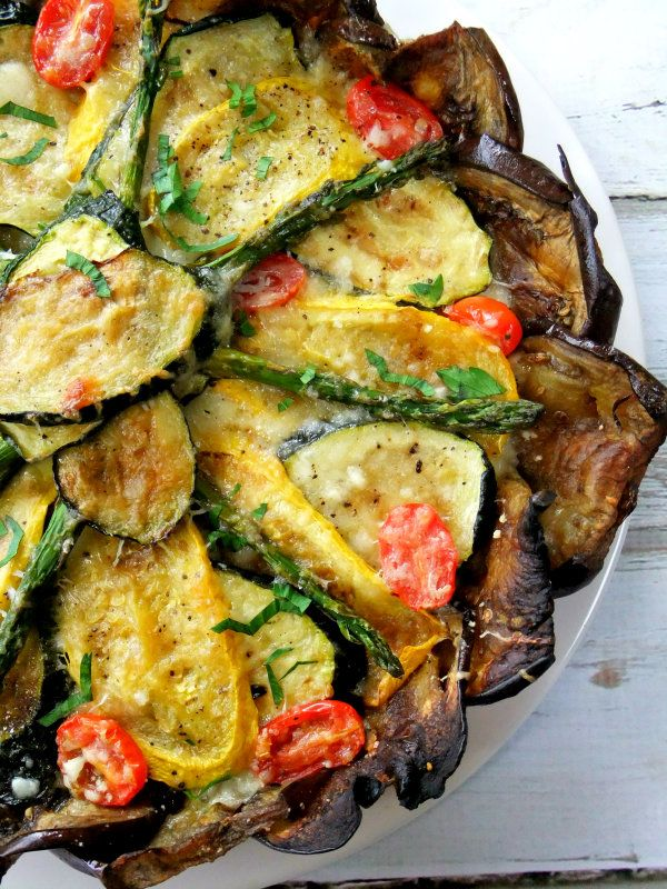 Roasted vegetable tart with eggplant crust. Easy, pretty, delicious, and GF.