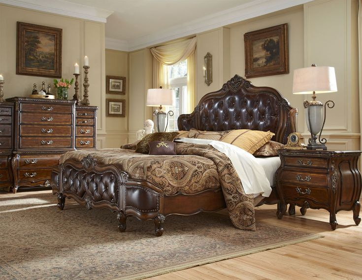 aico furniture lavelle melange king bed with leather tufted inserts by michael amini