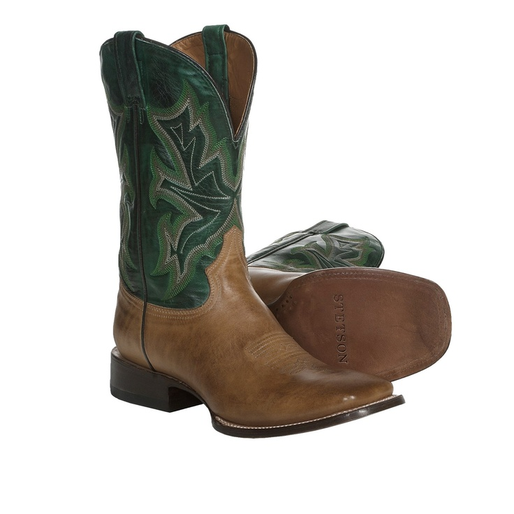 Stetson Square-Toe Cowboy Boots (For Men) in Saddle