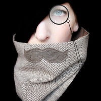 Mustache Scarf Cowl  History Professor Neckwarmer by piprobins