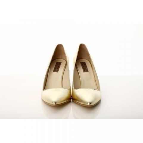 Pantofi toc mic piele aurie | The Boutique
