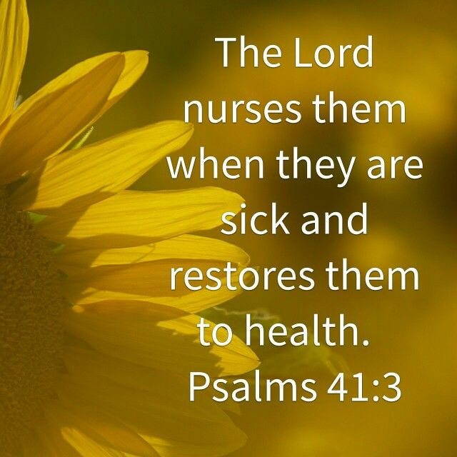 ✿Psalm 41:3✿ the し✿rd † Nurses them when they are sick, & restores them to health.