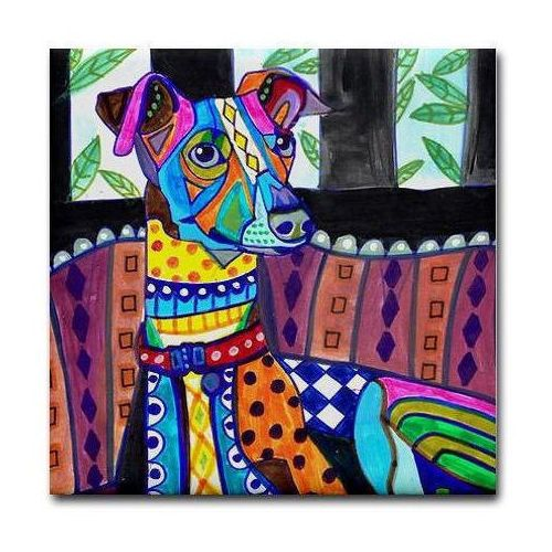 GREYHOUND-Gift-Ceramic-Tile-Dog-Italian-Greyhound-art-Tile-Ceramic