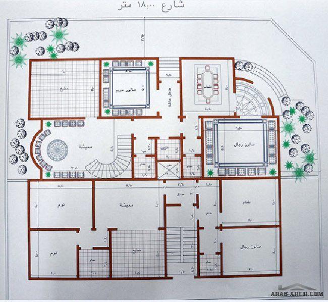 الارض على شارعين 18 مترالمساحة 672الأبعاد شمال 23 5 ثم شطفة 5 5 جنوب 27 5 شرق 20 75 غرب 24 75 المشر Square House Plans Model House Plan 2bhk House Plan