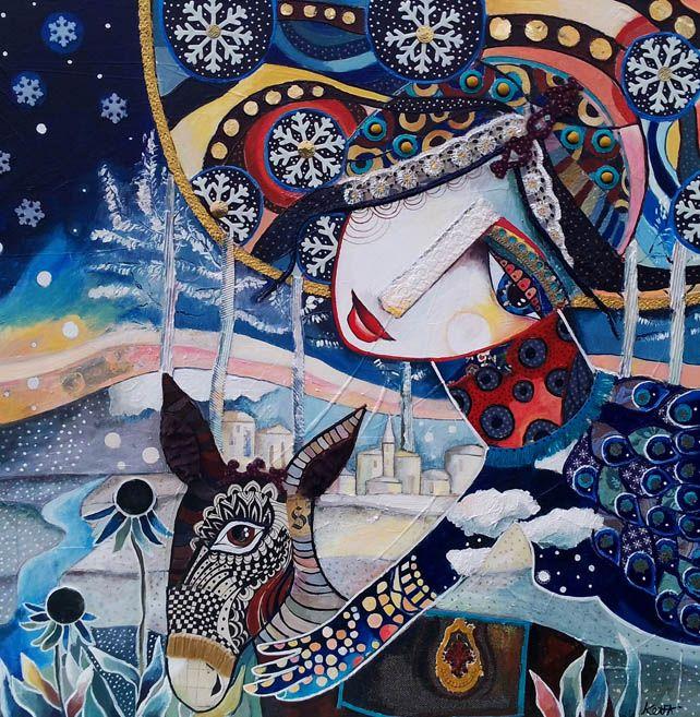 """Galerie L'âme des saisons """"Le messager de l'hiver"""" 80 x 80 cm - Technique mixte Laure Ketfa"""