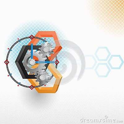 Abstract Clock mechanism and hexagons