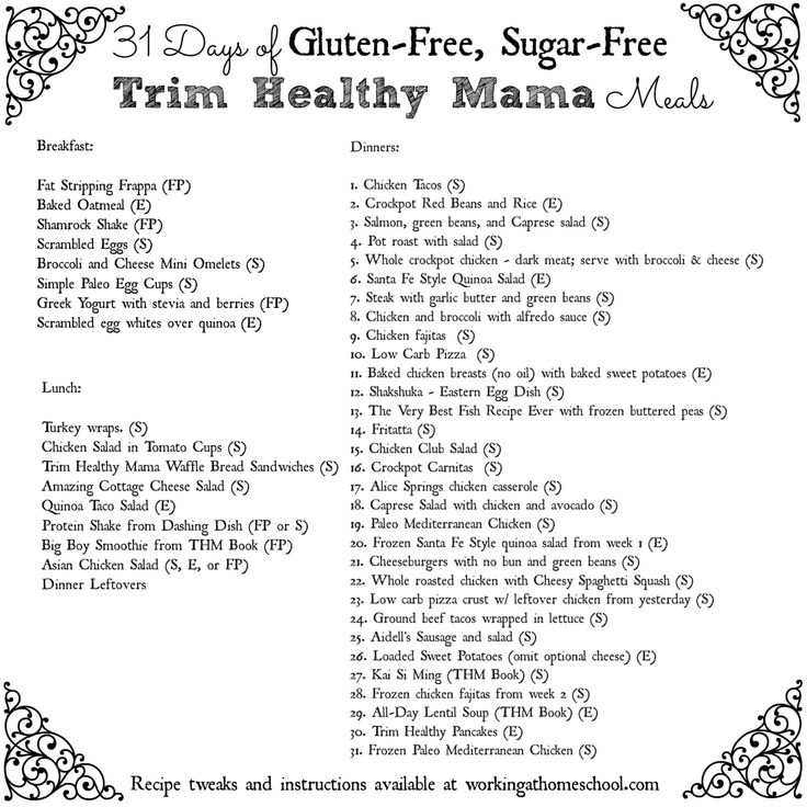This is a graphic of Handy Trim Healthy Mama Menu Plan