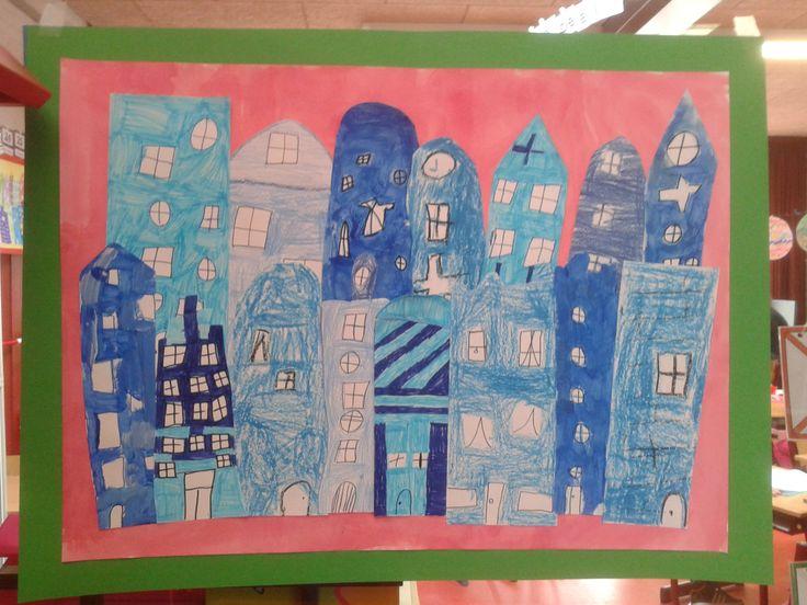 Kinderkunstweek 2014 groep3/4 blauwe huizen