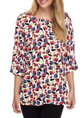 Anne Klein Women's Print Blouse - Brenton Red Combo - Xl
