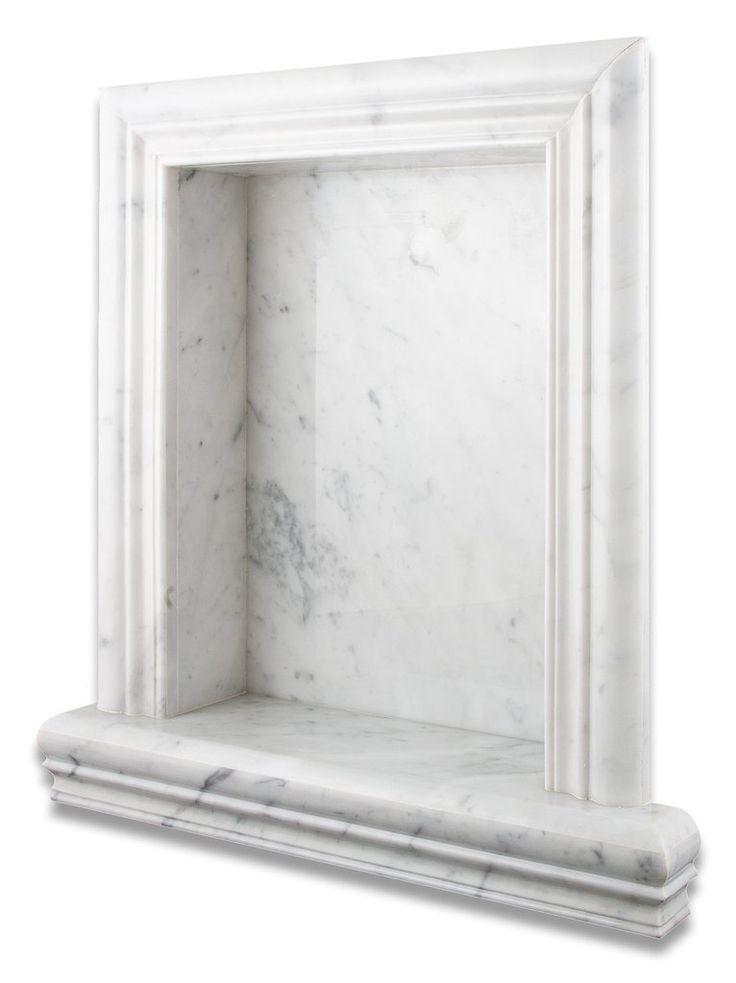 Carrara White Marble Hand Made Custom Shampoo Niche Shelf Large Honed