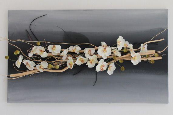 Tableau floral noir et blanc avec bois flott et orchid e - Branche bois flotte decoration ...