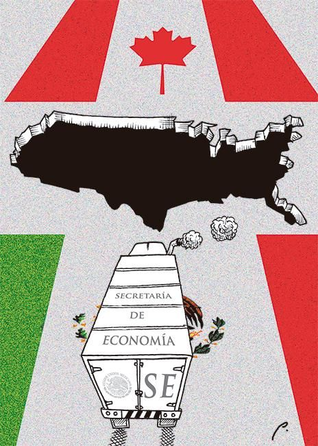 "Columbus (@ColumbusDM) | Twitter | ""TLC"" por Perujo vía @El Economista #CaricaturaDelDía #Cartón #FelizLunes #México #EU #Canada #SecretaríaDeEconomía"