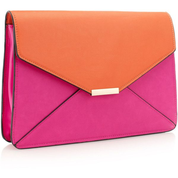 Accessorize Colour Block Large Envelope Clutch ($56) ❤ liked on Polyvore