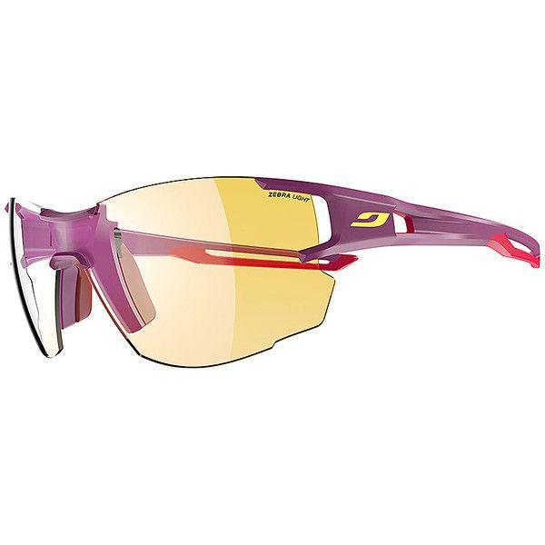 Julbo Aerolite Sunglasses - Purple/Pink - Sunglasses ($143) ❤ liked on Polyvore featuring accessories, eyewear, sunglasses, purple, mirror lens sunglasses, pink mirrored sunglasses, rimless glasses, purple lens sunglasses and pink sunglasses