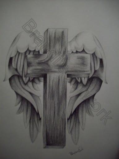 Wing Drawing Cross Tattoo Design Angel - Free Download Tattoo #26817 ...