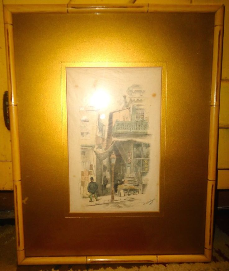 Framed John Herbert Evelyn Partington Lithograph Print on Tissue 1891 #Realism
