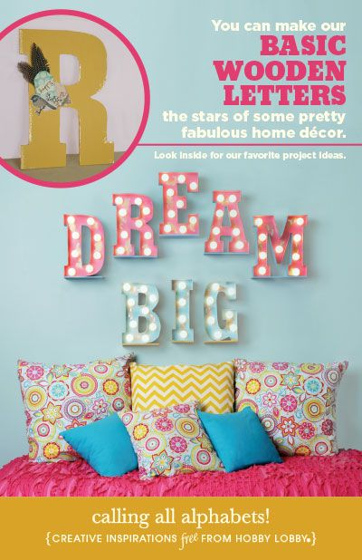 You can make our classic wooden letters the stars of some pretty fabulous wall decor with this DIY marquee letter how-to guide.