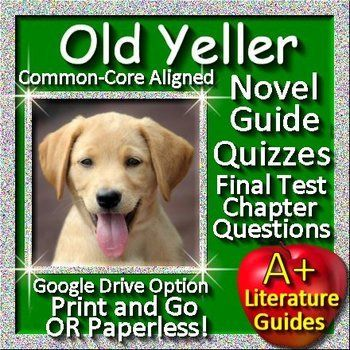 Free up your time with Old Yeller, a 75 page Common-Core aligned Novel Guide for the classic novel by Fred Gipson.It can be used with or without Google Drive (Paperless OR Print and Go) Put away boring test prep, and teach the Language Arts Common Core Standards using this Literature Guide and a book that students will love!