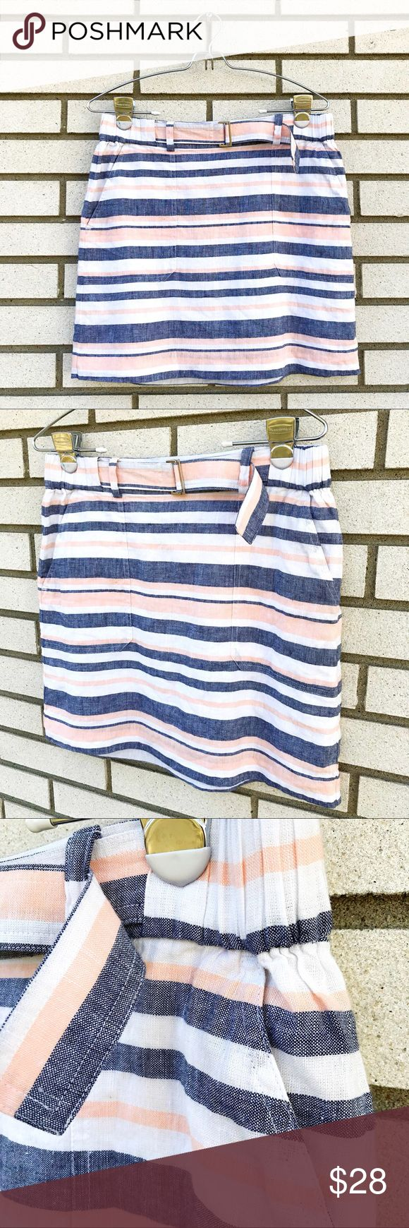 """Banana Republic Striped Belted Linen Mini Skirt Banana Republic Striped Belted Linen Mini Skirt Sweet, lightweight mini skirt - perfect for summer! Peach, white and navy stripe. Patch pockets at hips. Elastic waist from side hips, throughout back. Fully lined. Outer - 55% linen, 45% cotton, Lining - 100% cotton. 16"""" in length, 15"""" across waist unstretched. Size S. Excellent used condition. Banana Republic Skirts Mini"""
