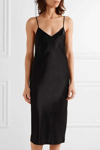 Black satin Slips on 100% viscose Dry clean Imported