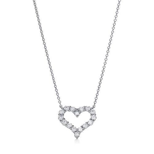 Tiffany & Co. Diamond Open Heart Crystal Charm Necklace small 0.57 ct 3.5k