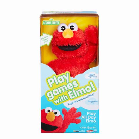 Little ones love watching Elmo play with his friends on Sesame Street. Now it's their turn to play along with Elmo: Meet Play All Day Elmo! This cuddly and interactive Elmo toy includes 8 games and activities and 150+ responses to help keep kids engaged. Play All Day Elmo has 2 modes of play (Toddler and Preschool) to encourage both younger and older children to have fun. Young children can enjoy basic cause-and-effect play in Toddler mode, like tickling Elmo or squeezing his nose to see…