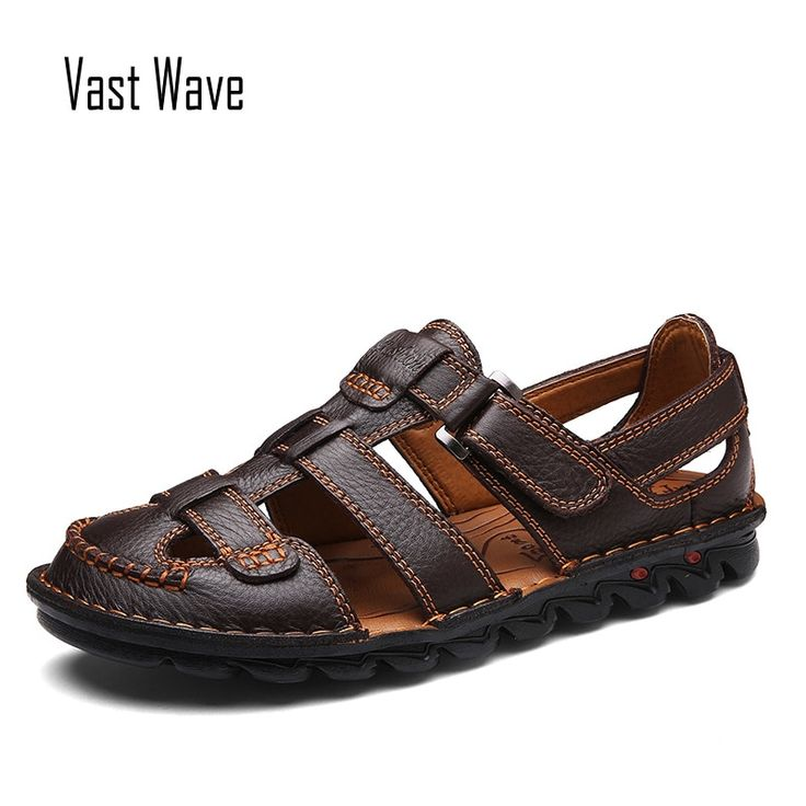 VASTWAVE Brand Men Casual Beach Shoes High Quality Summer Sandals Soft Sole Fashion Men Genuine Leather Slippers Men Flip Flops