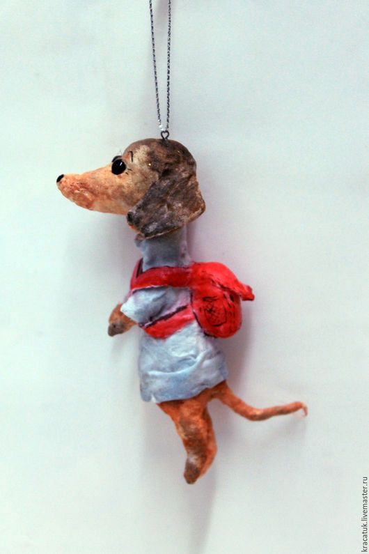 Новый год 2017 ручной работы. Заказать Ватная елочная игрушка Собака Такса. Кристина Шадрунова (kracatuk). Ярмарка Мастеров.