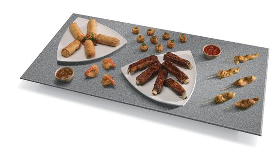 The Hatco Glo-Ray® Portable Rectangular Heated Simulated Stone Shelf (GRSS Series) has a blanket-type foil element to create a uniform heat across the entire foodsafe Swanstone® surface to hold food at safe-serving temperatures.