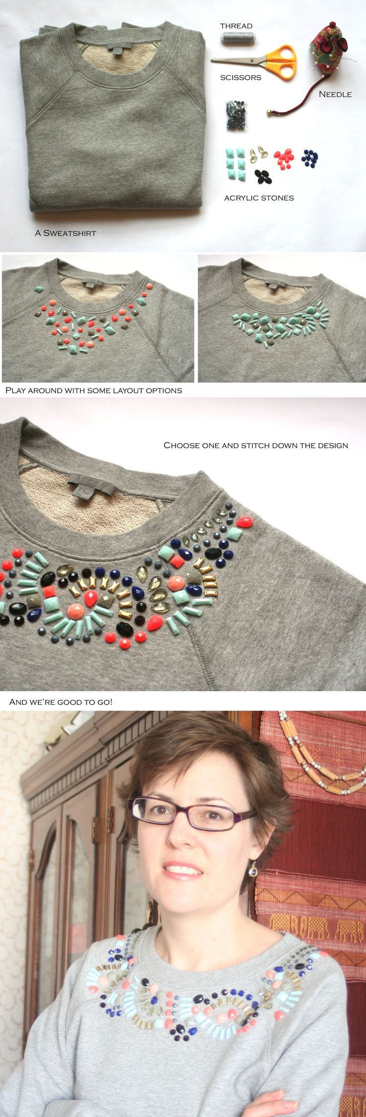 DIY embellished sweatshirt! Turn a plain sweatshirt into something like this! #refashionsweatshirt #diyembellishedsweatshirt #coolsweatshirtdiy