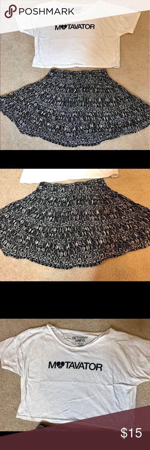 Bethany Mota Collection Bundle Bethany Mota Collection Bundle - Includes cropped limited-edition Motavator tee and pleated owl skirt. Top is one size fits all and skirt is size medium. Super cute and both items can be styled differently! Aeropostale Skirts Circle & Skater