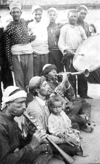 Street Gypsy musicians-A Balkan Gypsy musical band. 1940.