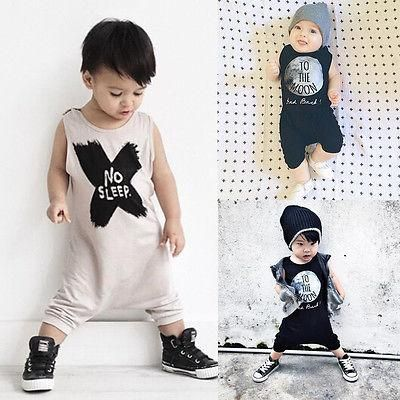 8bffb2309 2016 New Baby Girls Boys Romper Sleeveless No Sleep Print Cotton Baby  Jumpsuits Baby Clothes for