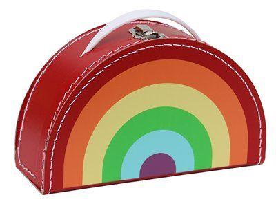 Kinderkoffertje Regenboog Rood, vrolijk koffertje