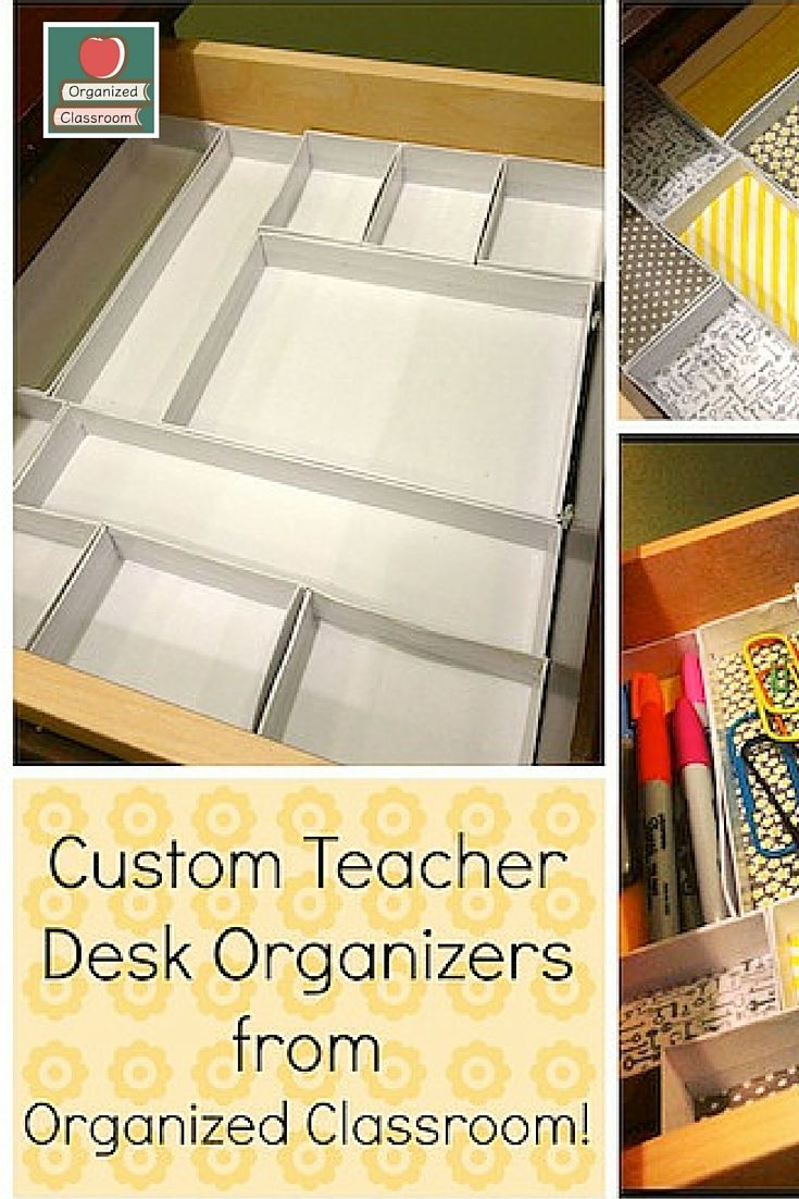 Have a drawer you need to organize? Well, if you have to organize it anyway, might as well make it cute along the way! DIY Custom Teacher Desk Organizers!