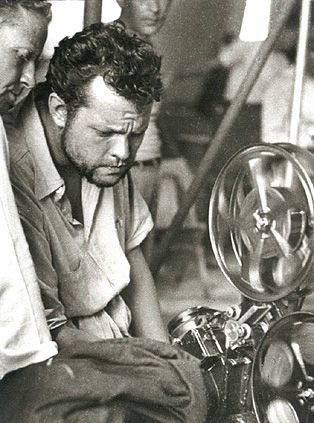 Orson Welles editing Macbeth by Allan Grant