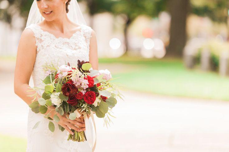 Burgundy Peony and Ranunculus Bridal Bouquet