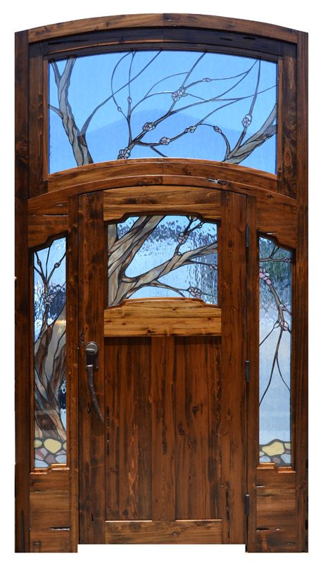 Custom Grand Entrance With Wow! Factor - Craftsman Door With Water Glass - Hand Laid Stained Led Glass Entry Door